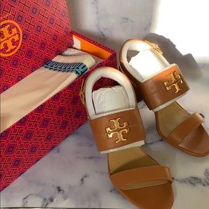Tory Burch Everly Calf Leather Tan Sandal sz8